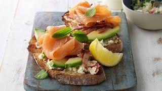 Smoked Salmon, Avocado and Feta Breakfast Stack