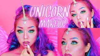 メロディさんから頂いたコスメでユニコーンメイク  unicorn makeup tutorial   Halloween   jeffree star thumbnail