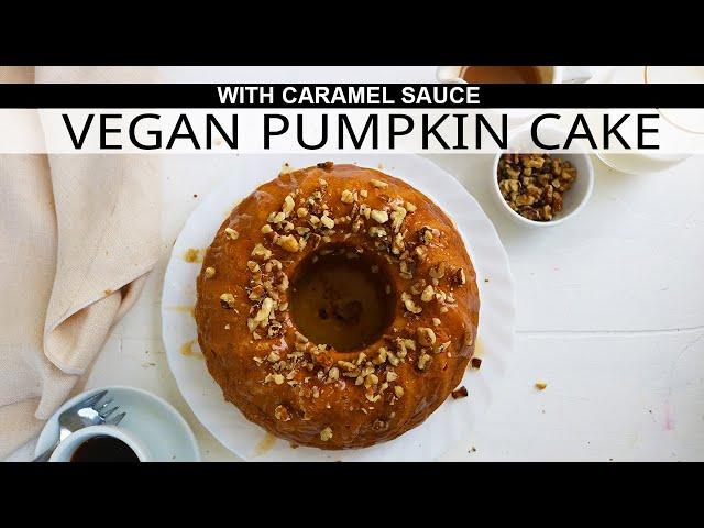 Pumpkin Cake with Caramel Sauce (VEGAN)