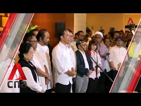 President Jokowi Addresses Supporters After Voting Closes In Indonesia Elections