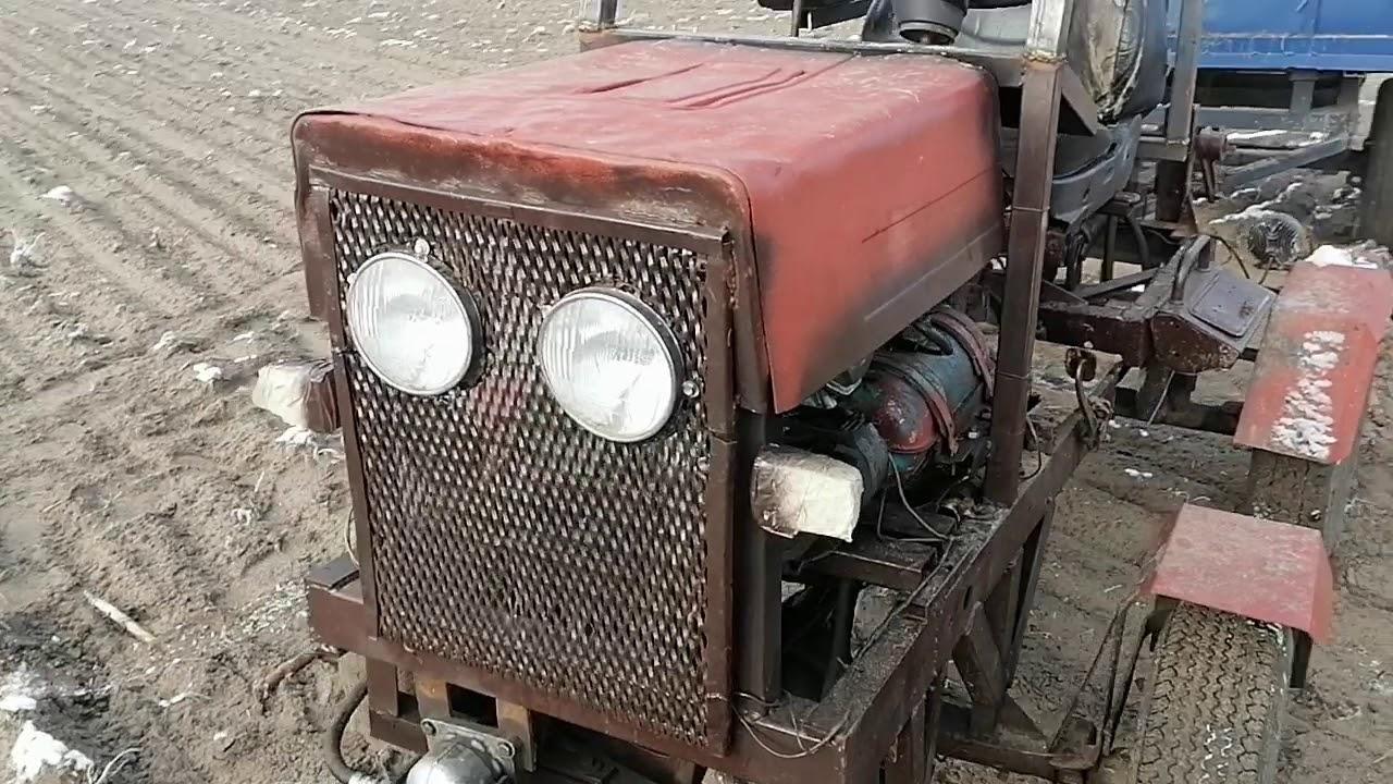 Небольшой обзор самодельного мини трактора.. Переломка