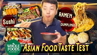 Trying SUSHI, RAMEN, DUMPLINGS From Whole Foods | Whole Foods Asian FOOD REVIEW