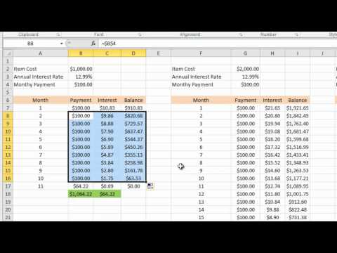 Calculating credit card payments in Excel 2010