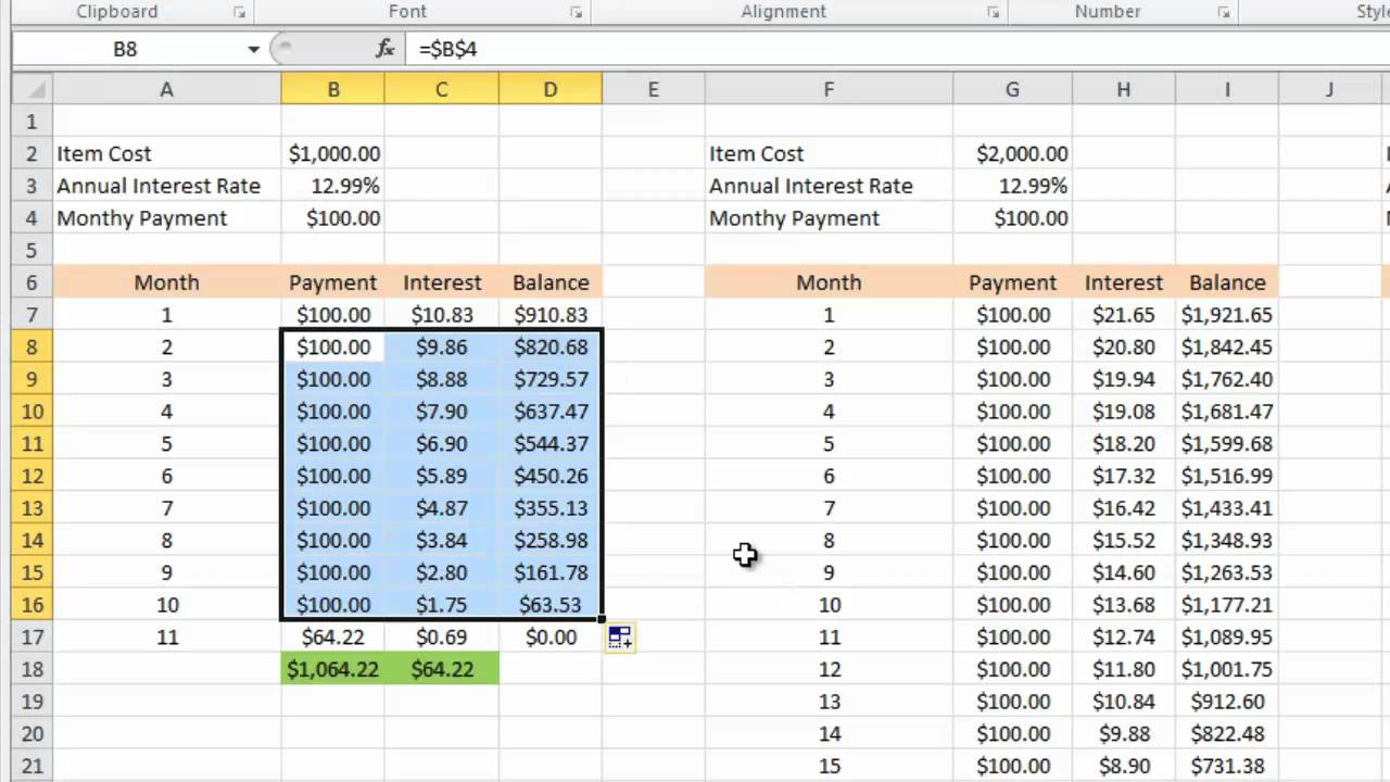 Calculating credit card payments in Excel 2010 - YouTube