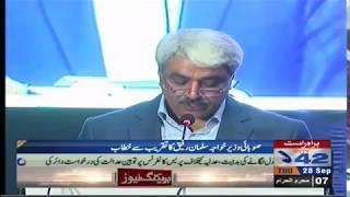 Khawaja Salman Rafique talking to ceremony