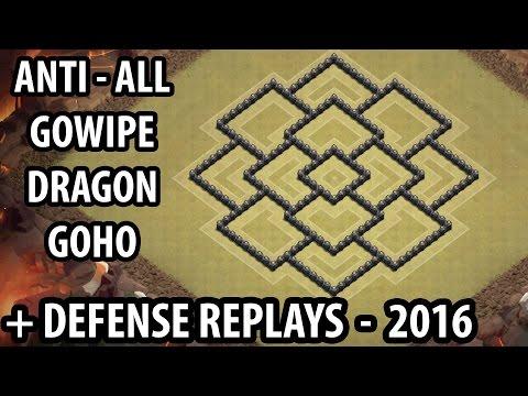 Clash of Clans - Town hall 8 (Th8) War Base + Defense REPLAY - ANTi GoWipe ANTi Dragons ANTi GoHo