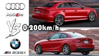 Audi S3 Sedan vs BMW M235i 0-200km/h acceleration and top speed