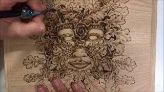Goddess of Woodlands - Pyrography on Cherry