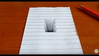 Very Easy!! How To Drawing 3D Hole - Trick Art on Line Paper