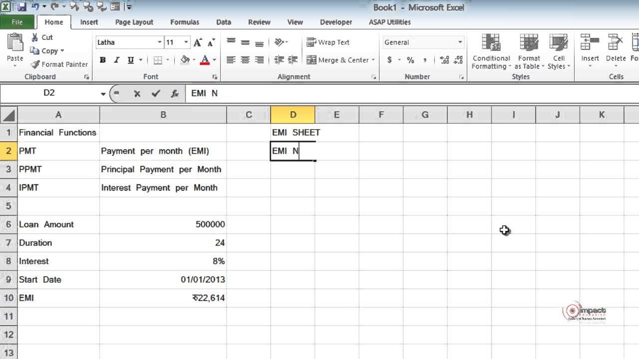 loan calculator excel sheet