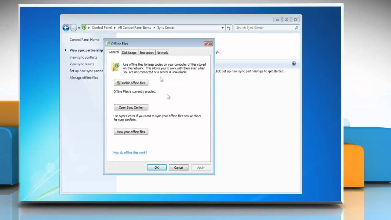 Windows® 7: How to disable offline files?