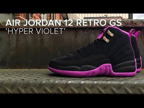 fa182af5da5 Air Jordan 12 Retro GS 'Hyper Violet' Detailed Look - YouTube