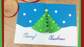 DIY Christmas gift card with Pop Up Tree | Easy to do with kids