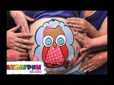 Рисунок на животе беременной - Пузиарт, Аквагрим на животике , Бодиарт беременных
