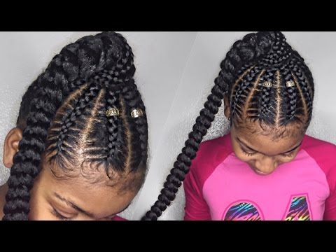 Jumbo Cornrows Into A Ponytail