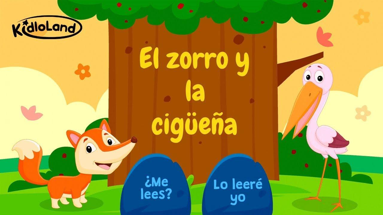 Fábula de el zorro y la cigüeña | Cuentos cortos en español | Niños de  kindergarten - YouTube