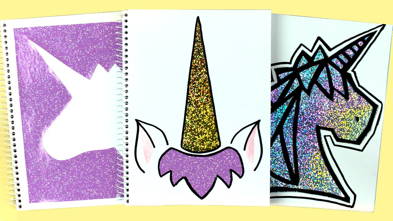 Diy glitter notebook cover - Diy Holo Unicorn Notebook Covers Diy Back To School Supplies Cutify Diy 7 Youtube
