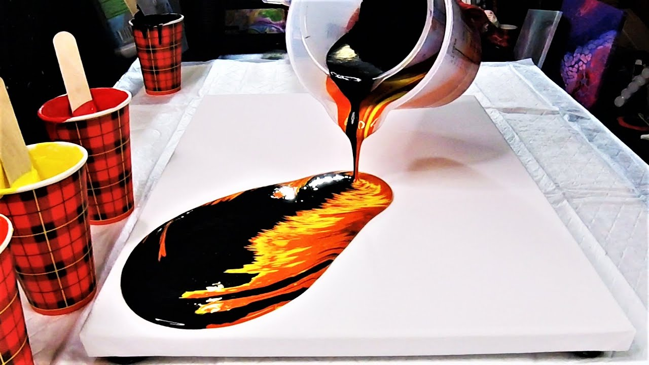 """Flame & Lava Fluid Art   Wandering Straight Pour Acrylic Pouring """"Flames on Canvas"""""""