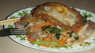 Stir Fry Noodle with Shrimp and Beef