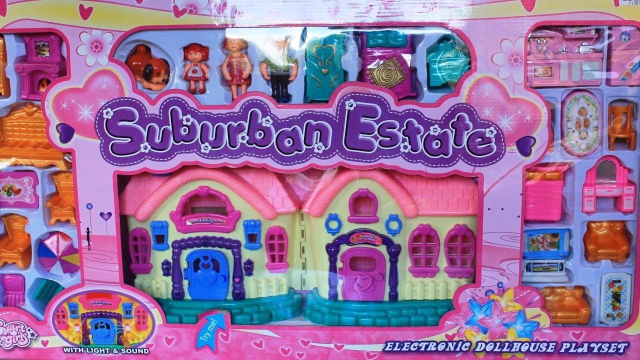 Dollhouse Suburban Estate Electronic Dollhouse Playset Kids Toys