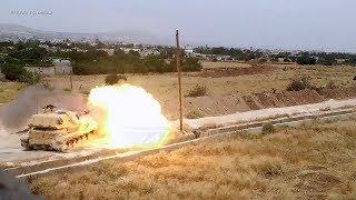 2С3 «Акация» САА ведет огонь прямой наводкой по огневым точкам джихадистов