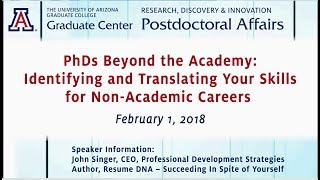 PhDs Beyond the Academy: Identifying and Translating Your Skills for Non-Academic Careers