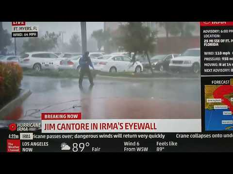 Hurricane Irma - Jim Cantore standing in the eye as tree limb comes flying