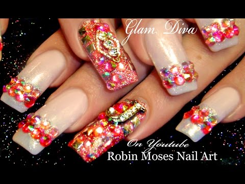 Hot Light Pink Diamond Bling Nail Art Design