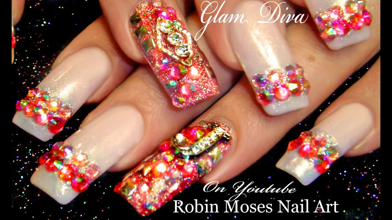 DIY Glam Diva Nails | HOT Light Pink Diamond Bling Nail Art Design ...