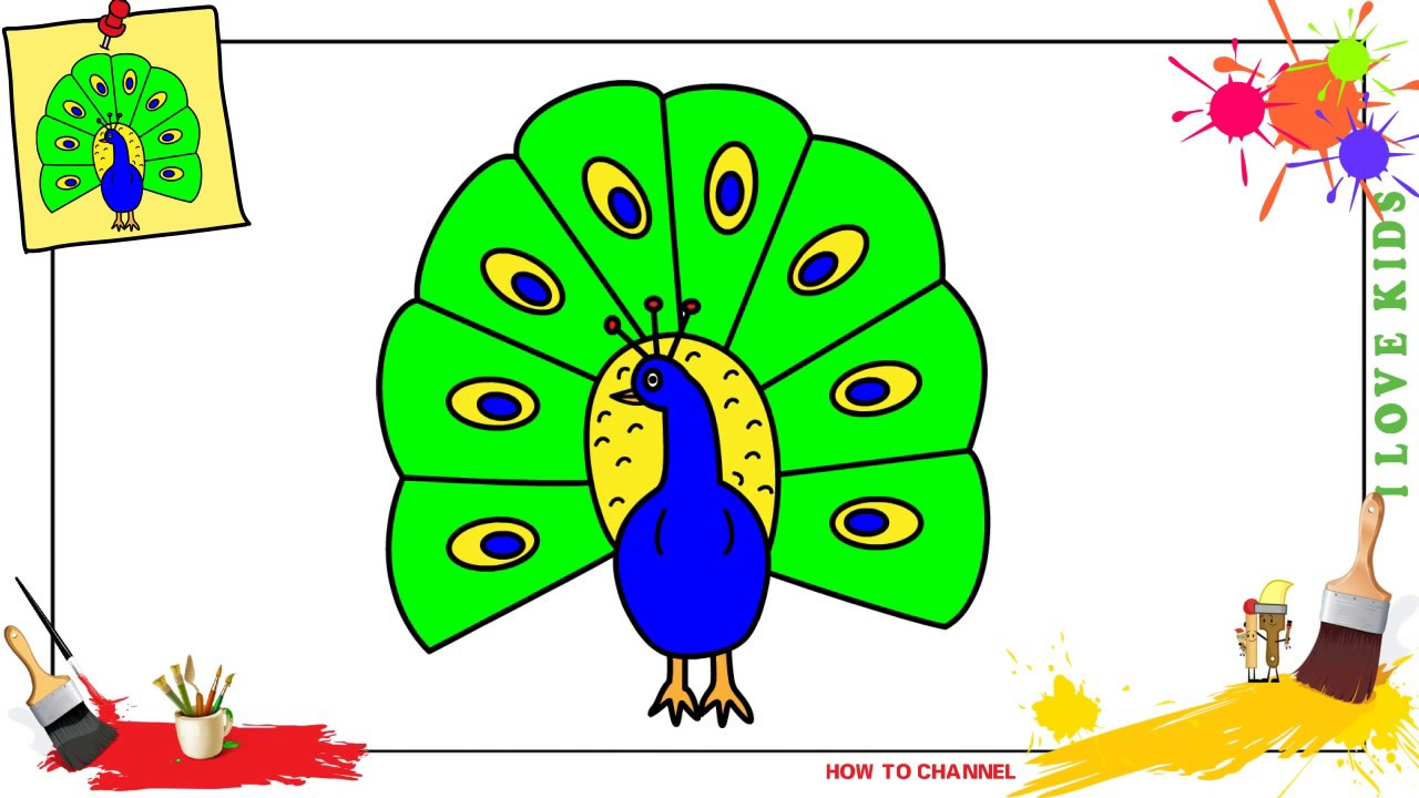 How To Draw A Peacock Easy Slowly Step By Step For Kids And