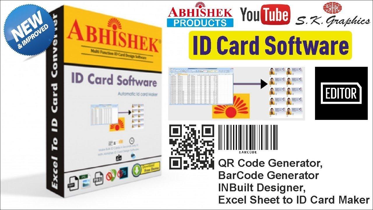 Abhishek ID Card Software V4 Demo / Bulk Id Card Maker / QR Code Generator  / BarCode Maker