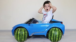 Karpuz Tekerler! Yusuf Ride Powered Car & Change Wheels-Funny Kids Video