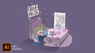 手繪感夜深人靜的房間 How to Draw a Room #illustrator 薛零六Bess Shiue