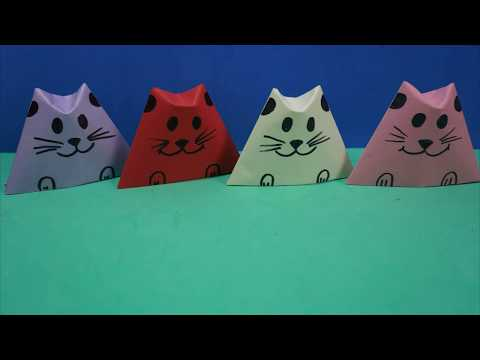 Origami Cat Crafts for Kids |  Origami Cat Face Instructions Step By Step Tutorial