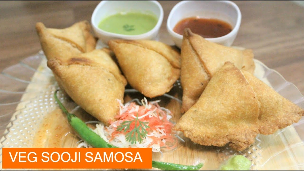 Crispy Veg Sooji Samosa - Without Maida Samosa Recipe - Indian Teatime Snacks Recipe - Veggie Samosa
