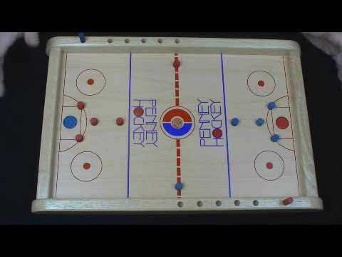 Penny Hockey wooden board Game - 2 person or 2 team game - flick the penny
