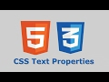Lesson 25 CSS Text Properties