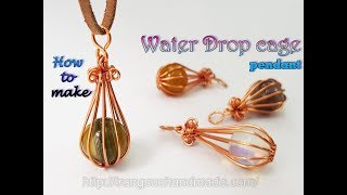 Water Drop cage pendant with large spherical stone without holes 471