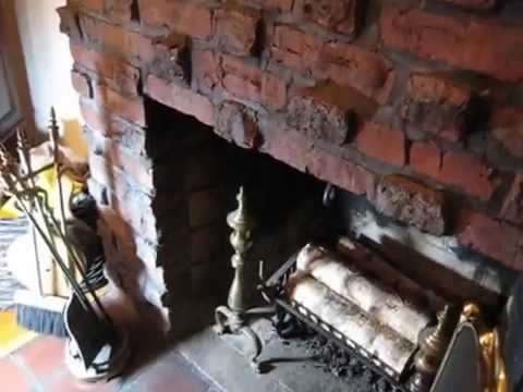 How to open fireplace chimney damper or flue - YouTube