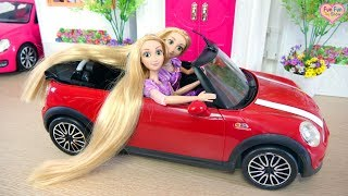 Rapunzel doll Hair Transformation at Barbie Beauty Salon boneka Rapunzel Potongan rambut Boneca