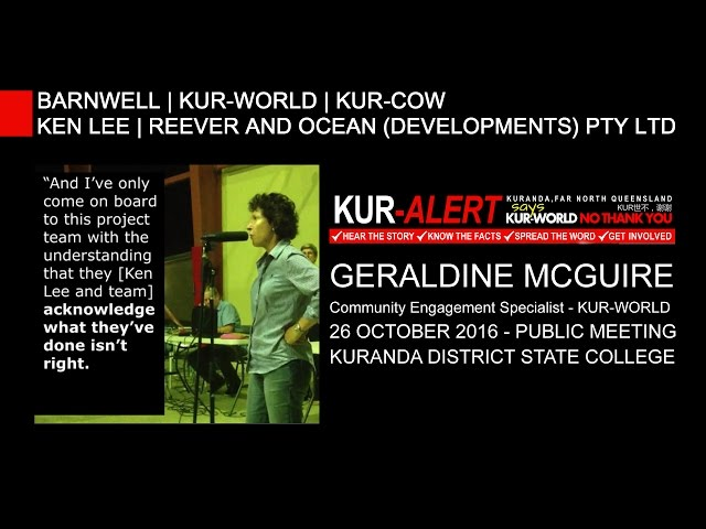 KUR-World, KUR-Cow, BARNWELL: Geraldine McGuire acknowledging what they've done is not right