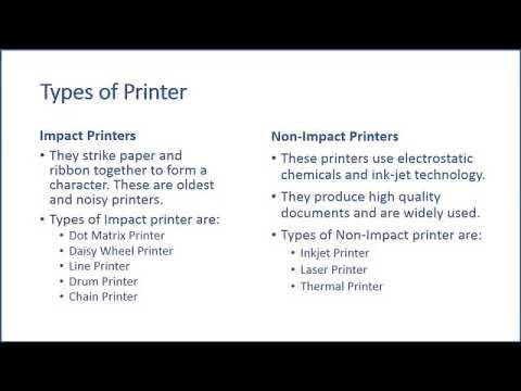 TYPES PRINTER   IMPACT PRINTER AND NON IMPACT PRINTER WITH DESCRIPTION