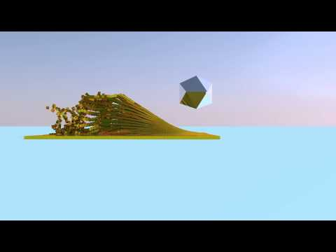 Cinema 4D - Gold boxes and an attractor (Angle 1)