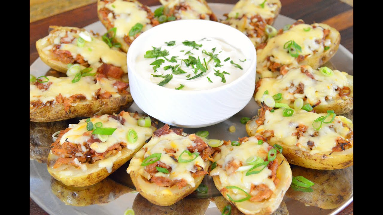 BBQ CHICKEN and BACON LOADED POTATO SKINS RECIPE |Crock Pot BBQ Chicken Recipe |Cooking With Carolyn