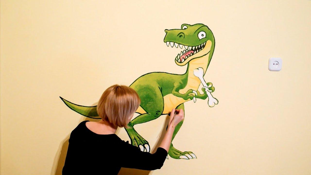 Speed Painting - Wall Art Dinosaur Children\'s Room | Pokój Dziecięcy ...