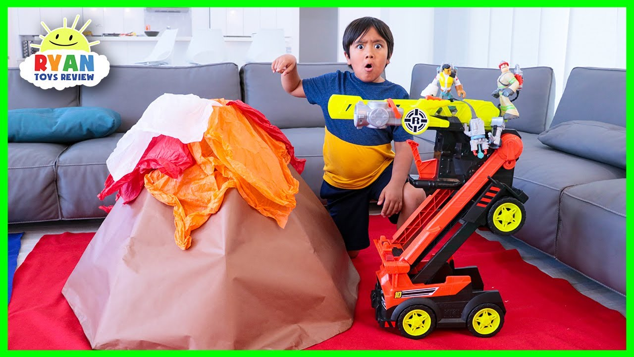 Ryans house is full of lava! Rescue Heroes on a mission to rescue!