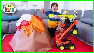 Ryan's house is full of lava! Rescue Heroes on a mission to rescue!