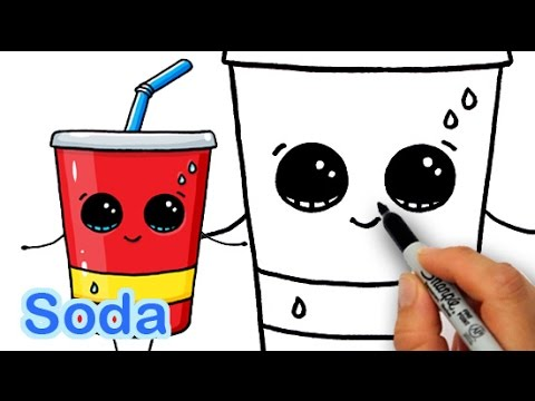 How to Draw Cute Cartoon Soda Cup Drink Step by Step  YouTube