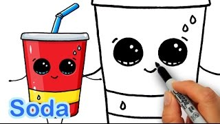 How to Draw Cute Cartoon Soda Cup Drink Step by Step