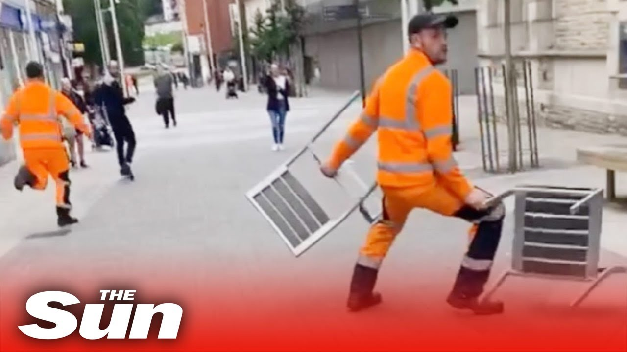 Download Bin men sacked after high street brawl in high-vis with chairs